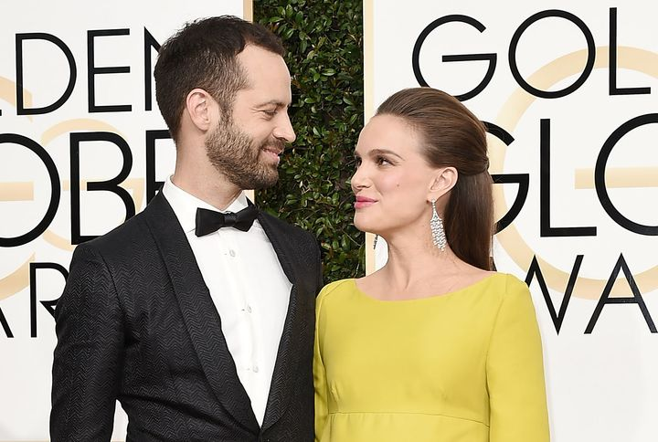 Benjamin Millepied and Natalie Portman at the 74th Annual Golden Globe Awards on Jan. 8, 2017.