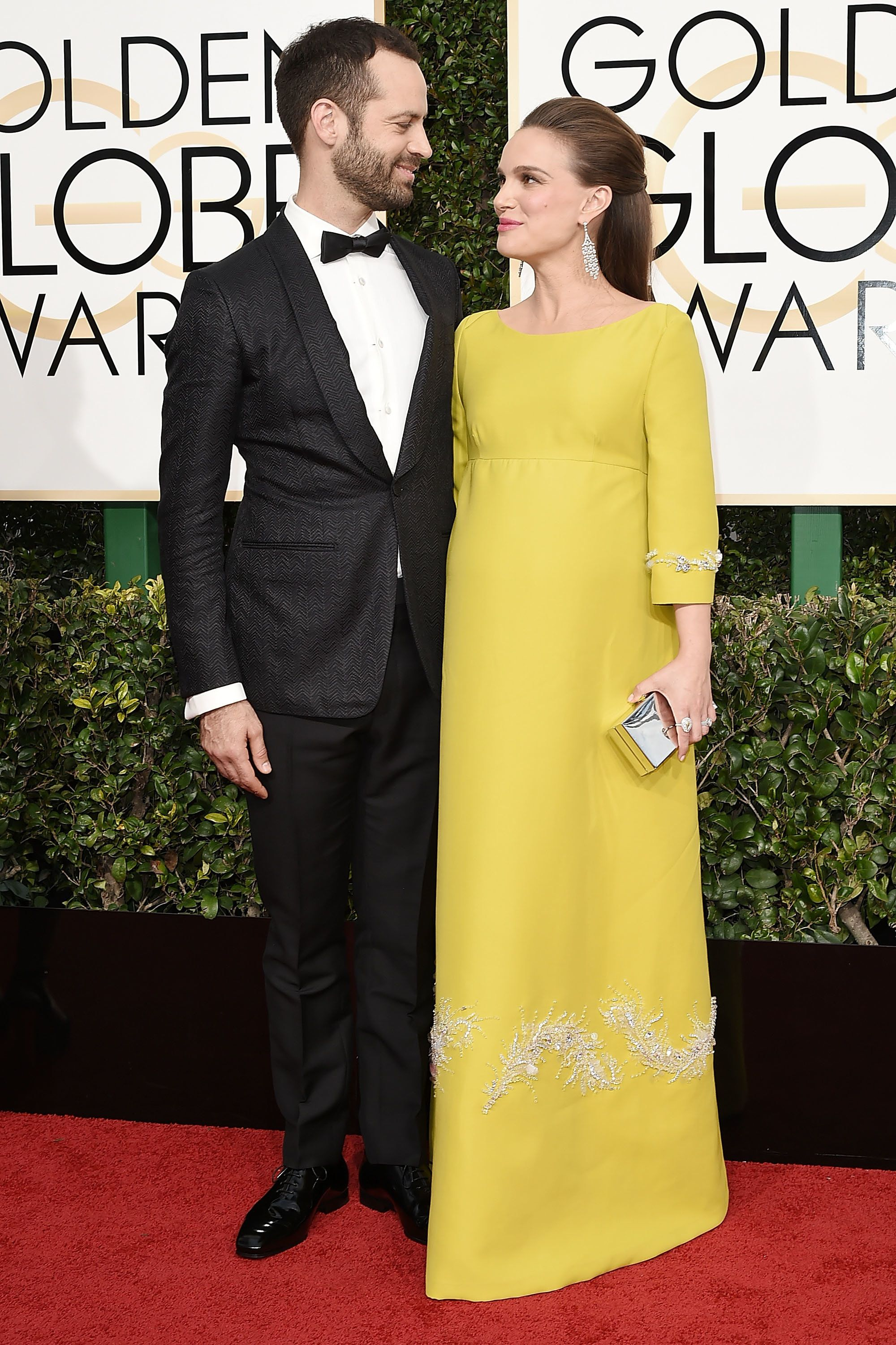 BEVERLY HILLS, CA - JANUARY 08:  Benjamin Millepied and Natalie Portman attend the 74th Annual Golden Globe Awards - Arrivals at The Beverly Hilton Hotel on January 8, 2017 in Beverly Hills, California.  (Photo by David Crotty/Patrick McMullan via Getty Images)