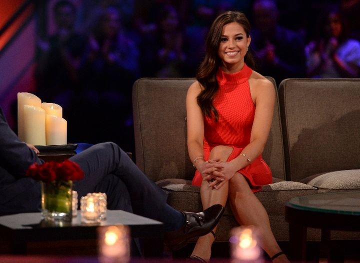 "Kristina Schulman in the hot seat on ""The Bachelor: Women Tell All."""