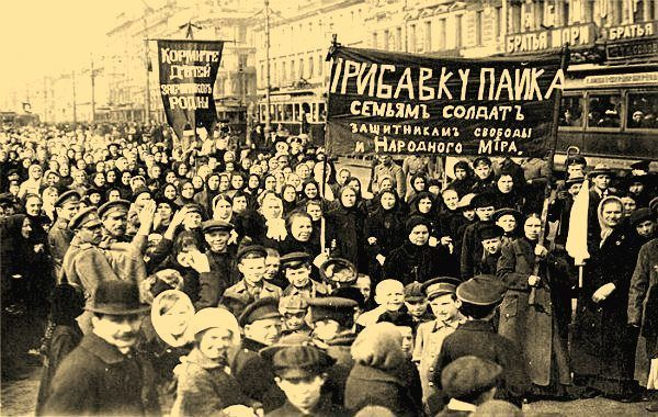 Women's march in Petrograd, March 8, 1917