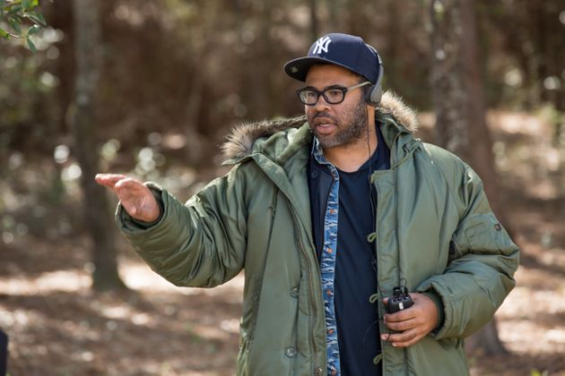 Jordan Peele directs a scene in