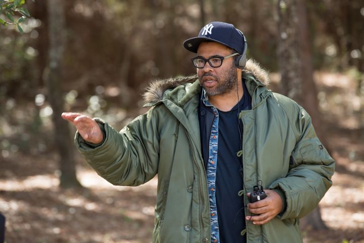 "Jordan Peele directs a scene in ""Get Out."""