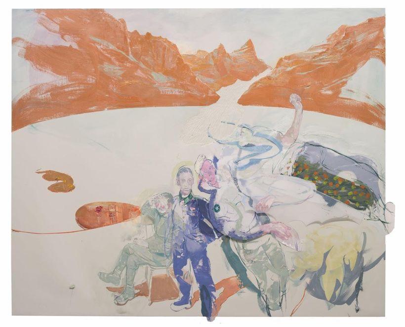 <em>Schmelzwasser, </em>2014, 165 x 200 cm, Oil, Acrylics and Collage on Linoleum
