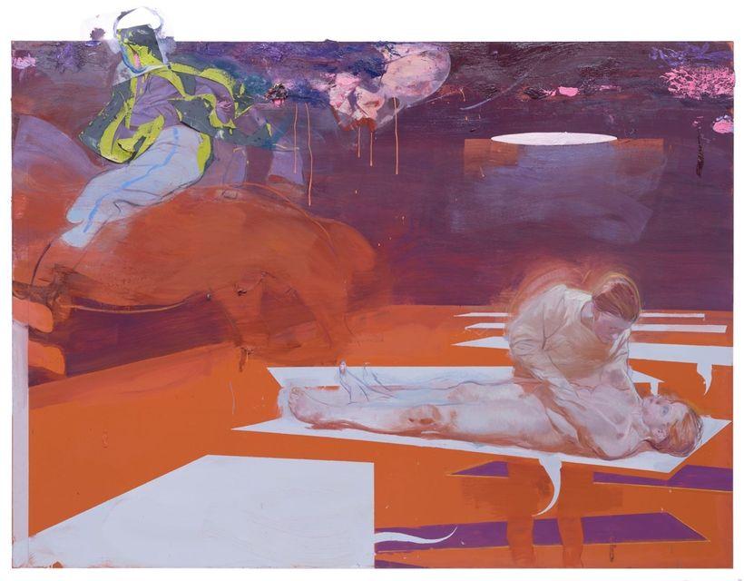 <em>Save Me,</em>  2017, 160 x 205 cm. Oil and Collage on Linoleum