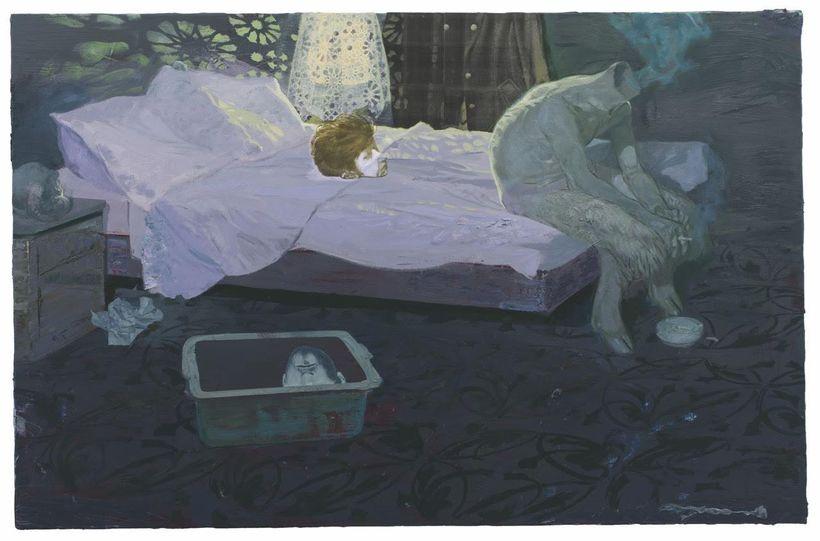 <em>Raucherzimmer</em> (Smoking-Room), 2013, 130 x 200 cm, Acrylic and Oil on Canvas