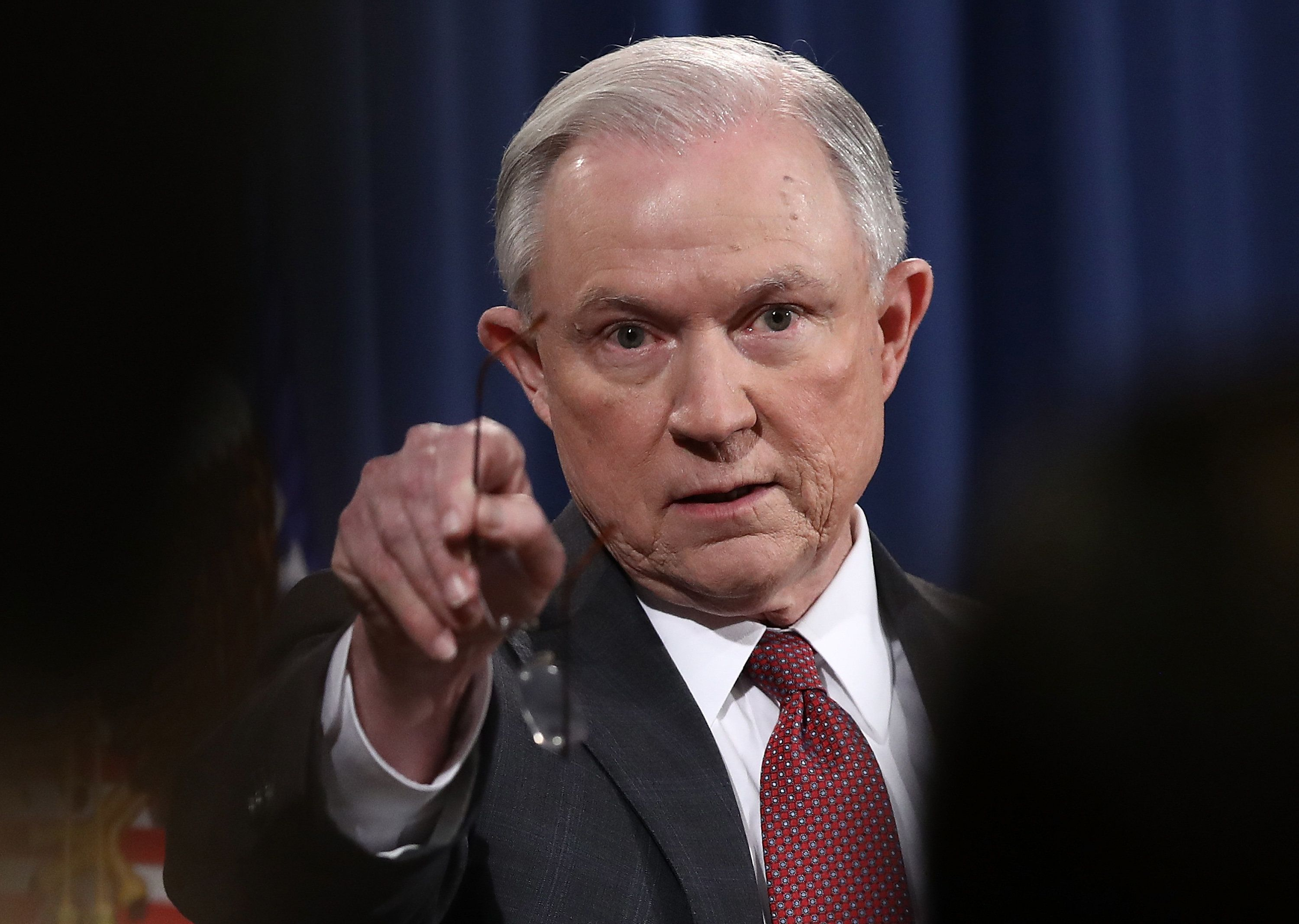 WASHINGTON, DC - MARCH 02:  U.S. Attorney General Jeff Sessions takes questions during a press conference at the Department of Justice on March 2, 2017 in Washington, DC. Sessions addressed the calls for him to recuse himself from Russia investigations after reports surfaced of meetings he had with the Russian ambassador during the U.S. presidential campaign.  (Photo by Win McNamee/Getty Images)