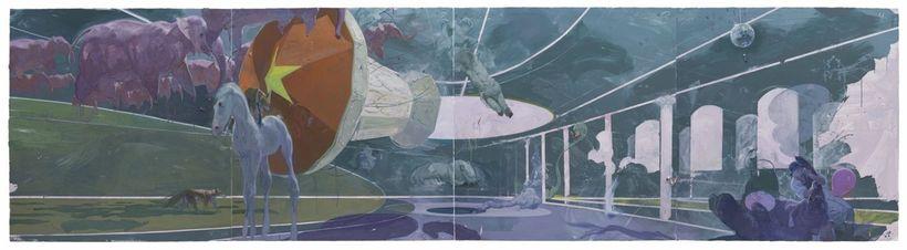 <em>Fabel, </em>2014, 210 x 800 cm, Acrylic and Oil on Canvas