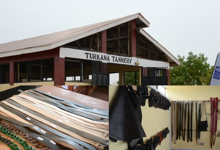 <p><em>Turkana Tannery. Inset are displays of some of the high quality leather products manufactured in the tannery. </em></p>