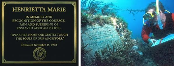 Henrietta Marie plaque inscription and submerged concrete monument, now transformed into a reef.