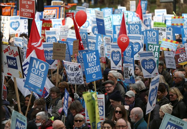 Tens of thousands of people have taken to the streets of London to protest about the future of the
