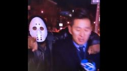 Masked Man Grabs Reporter On Live