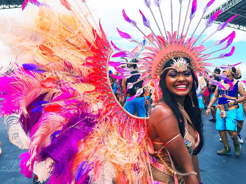 Bliss masquerader crossing the Socadrome stage at Trinidad & Tobago Carnival