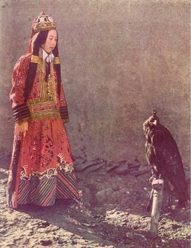 Princess Nirgidma with her eagle, 1932 Photo by Maynard Owen Williams, National Geographic, 1932