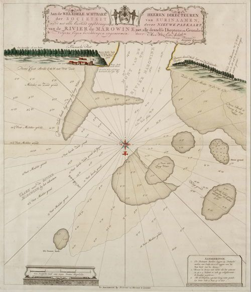 The estuary of the Maroni river, where the <em>Leusden</em> sunk in 1738.