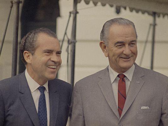 Richard Nixon and Lyndon Johnson, 1968