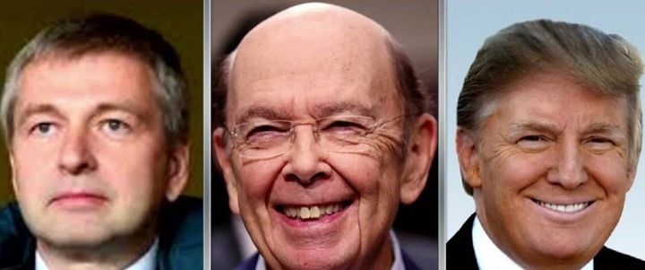 Russian billionaire Dmitry Rybolovlev (left), Commerce Secretary Wilbur Ross (center), President Donald J. Trump (right)