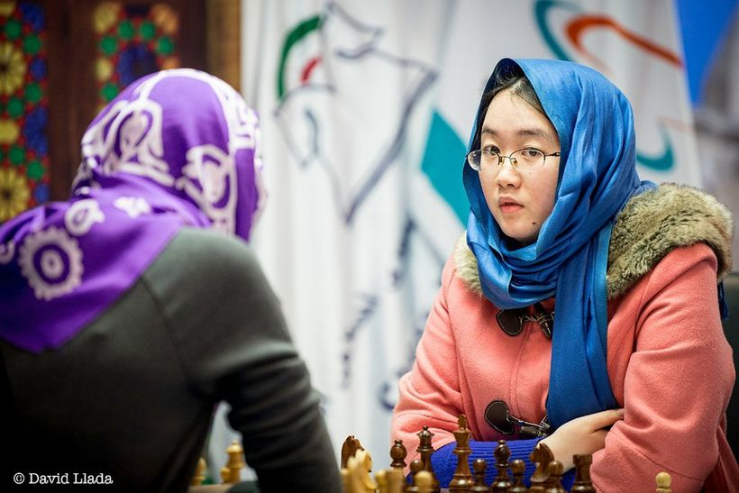Tan Zhongyi during Game 1 of the final of the Women's World Championship, which ended in a draw.