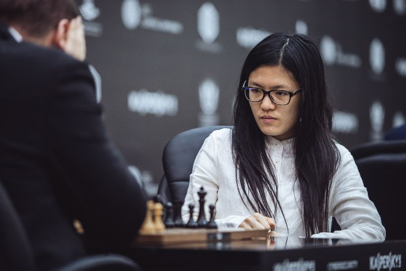 Hou Yifan playing during the Grand Prix in Sharjah last month. She is the only woman in the Grand Prix for the overall title