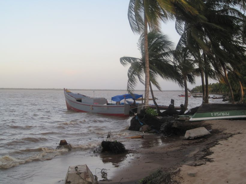 SK 1427 fishing boat from Paramaribo, used as survey vessel, anchored in front of Galibi