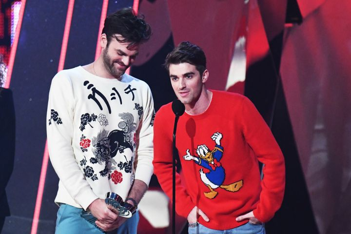 Recording artists Andrew Taggart and Alex Pall of the Chainsmokers accept the award for Best New Artist onstage at the 2017 i