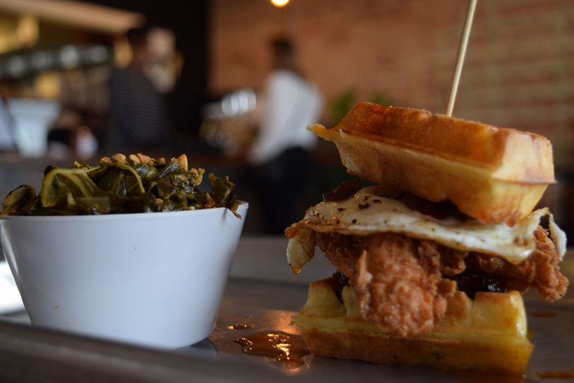 Chicken & Waffles with Braised Collard Greens at GB & D