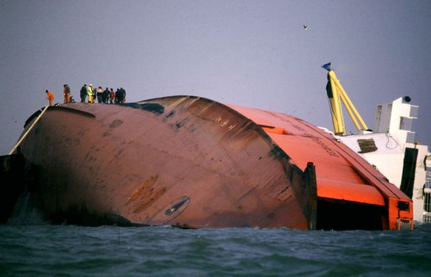 Rescuers on top of the wreck of the MS Herald of Free Enterprise on March 7, 1987 in Zeebrugge,