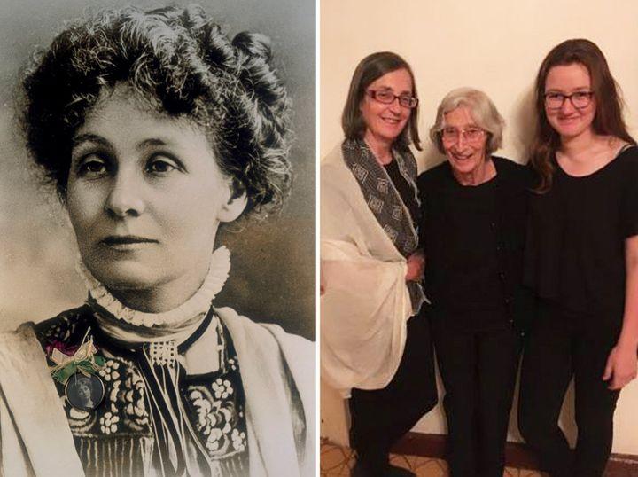 Left: Emmeline Pankhurst | Right: Helen, Rita and Laura Pankhurst