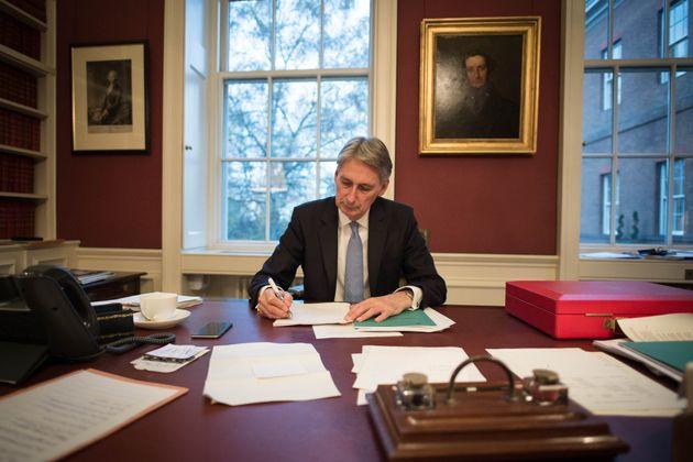 Chancellor Philip Hammond preparing his Autumn Statement at the end of