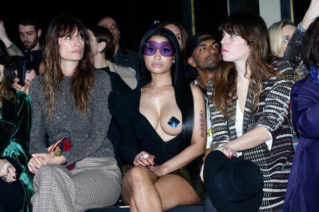 (L-R) Caroline de Maigret, Nicki Minaj and Lou
