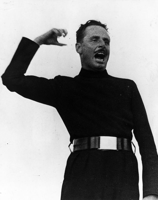 Fascist leader Oswald Mosley addressing a rally in Hyde Park in