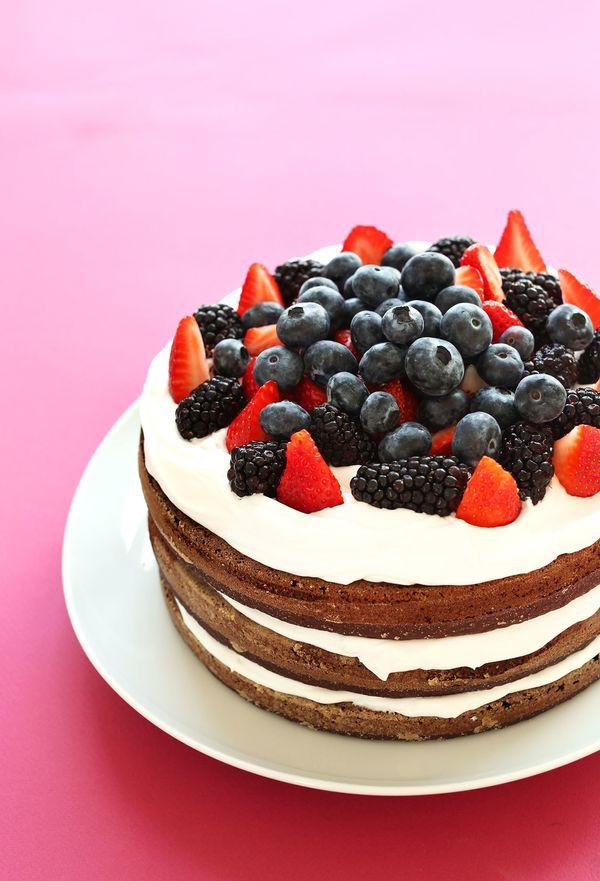"<strong>Get the <a href=""http://minimalistbaker.com/gluten-free-birthday-cake-vegan/"" target=""_blank"">Gluten-Free Birthday Ca"