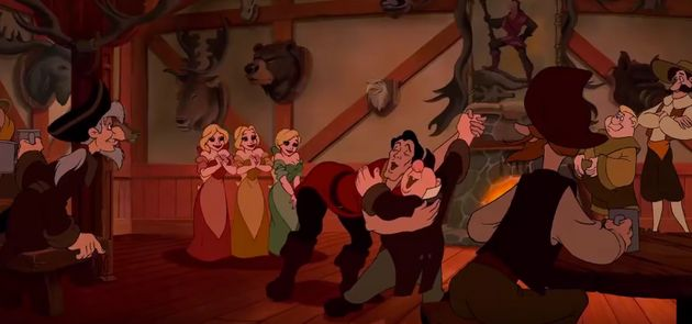 Gaston and LeFou celebrate one of his evil schemes with a
