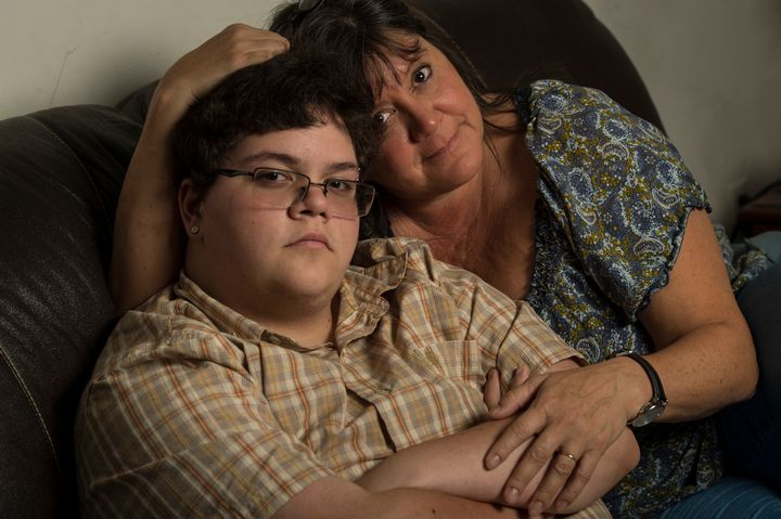 Gavin Grimm, 17, left, is photographed with his mom Deirdre Grimm, in Gloucester, Virginia, on Sunday, August 21, 2016.