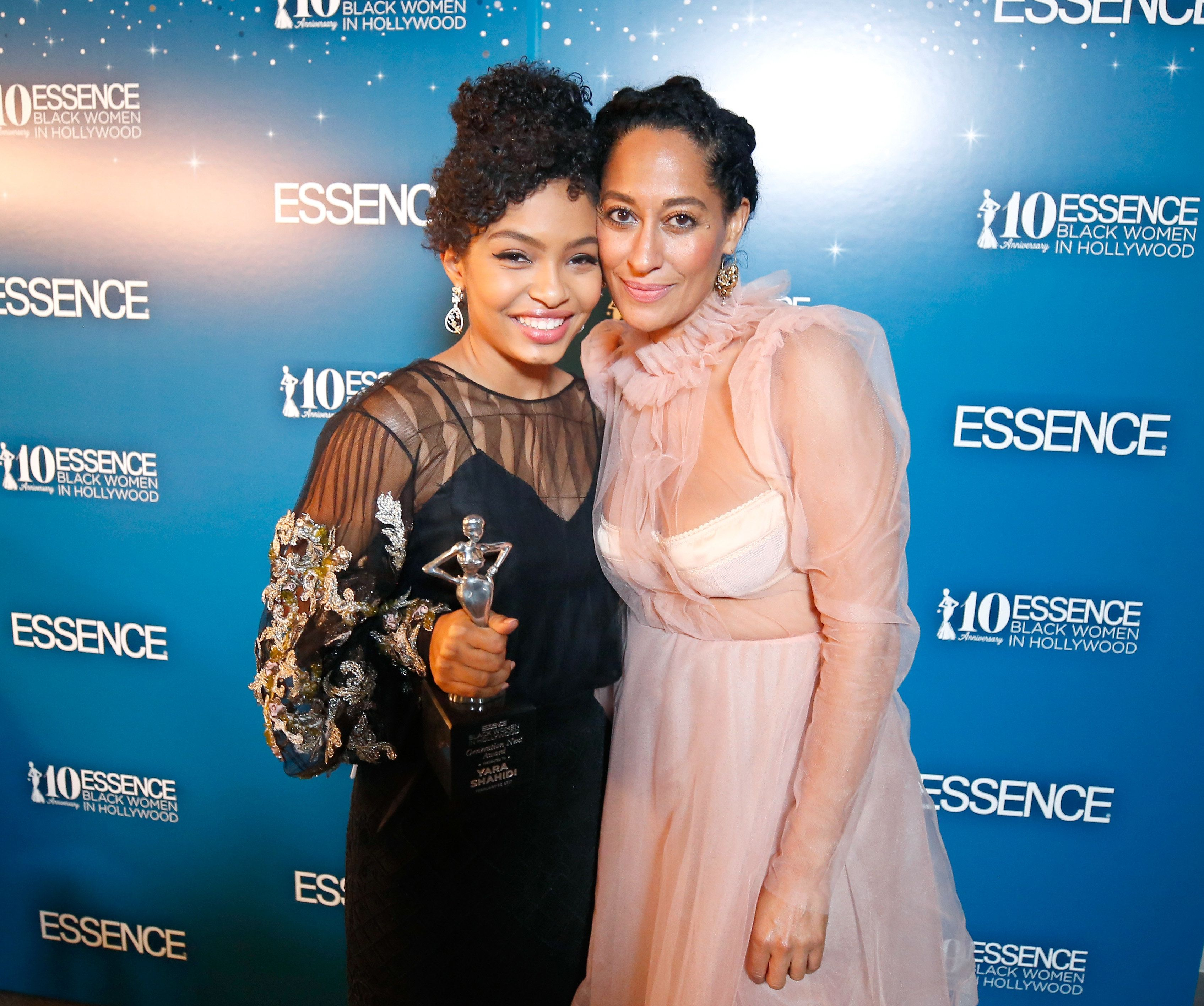 BEVERLY HILLS, CA - FEBRUARY 23:  Honoree Yara Shahidi and actor Tracee Ellis Ross pose with the 'Generation Next' award at Essence Black Women in Hollywood Awards at the Beverly Wilshire Four Seasons Hotel on February 23, 2017 in Beverly Hills, California.  (Photo by Randy Shropshire/Getty Images for Essence)