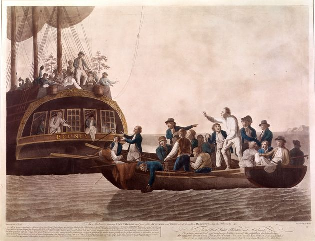 An etching of the Mutiny on the Bounty, on display at the British Museum in