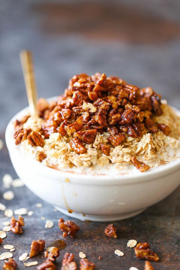 """<strong>Get the <a href=""""http://damndelicious.net/2016/12/01/pecan-pie-overnight-oats/"""" target=""""_blank"""">Healthy-ish Pecan Pie"""
