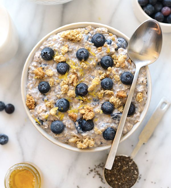 """<strong>Get the <a href=""""http://fitfoodiefinds.com/2016/04/blueberry-muffin-overnight-oats/"""" target=""""_blank"""">Blueberry Muffin"""