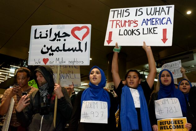 January: Demonstrators at Los Angeles International Airport protest against Trump's executive order to...
