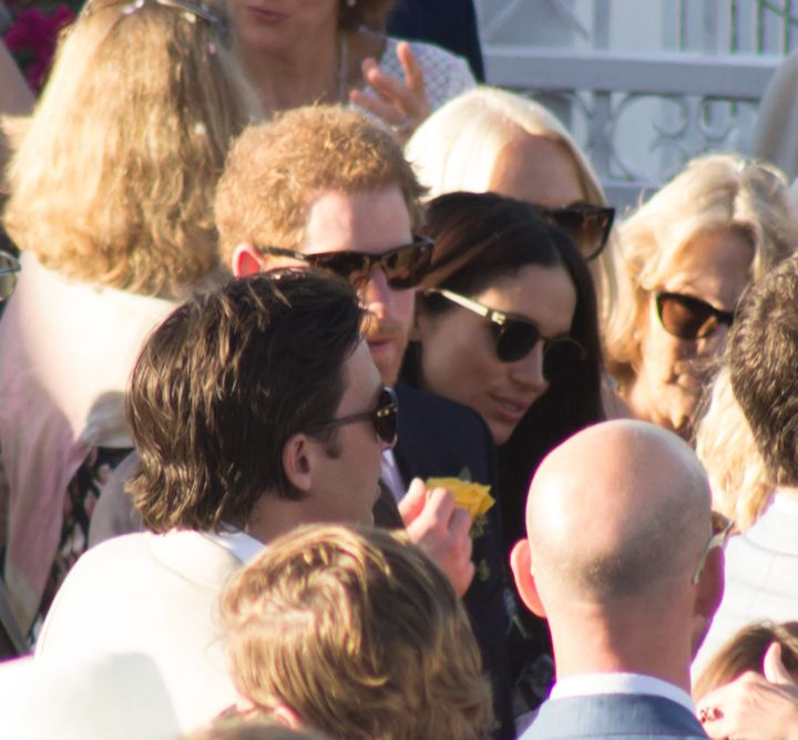 A glimpse of the prince and Meghan.