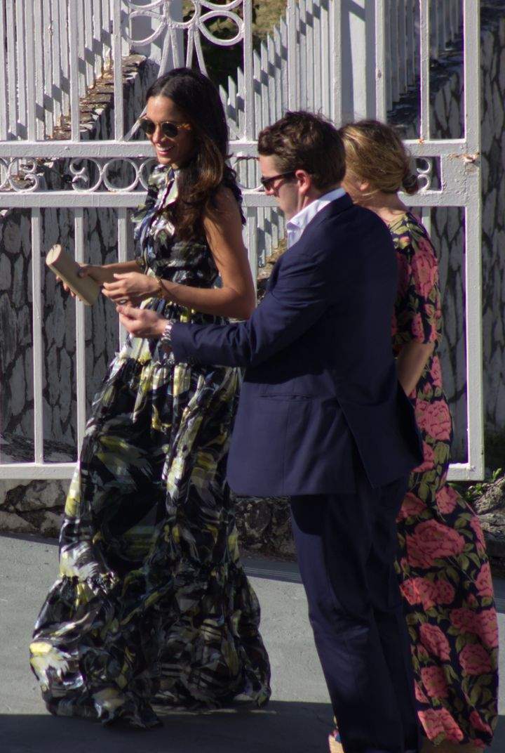 "Markle at the wedding for Harry's best friend Tom ""Skippy"" Inskipp to Lara Hughes-Young in Jamaica. The pair were all dr"