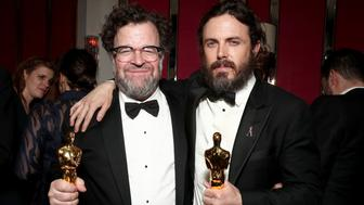 WEST HOLLYWOOD, CA - FEBRUARY 26:  Director Kenneth Lonergan and actor Casey Affleck with their awards for 'Manchester By The Sea' attend the Amazon Studios Oscar Celebration at Delilah on February 26, 2017 in West Hollywood, California.  (Photo by Todd Williamson/Getty Images for Amazon)