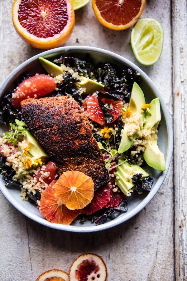 "<strong>Get the <a href=""https://www.halfbakedharvest.com/glowing-citrus-avocado-quinoa-blackened-salmon-salad/"" target=""_bla"