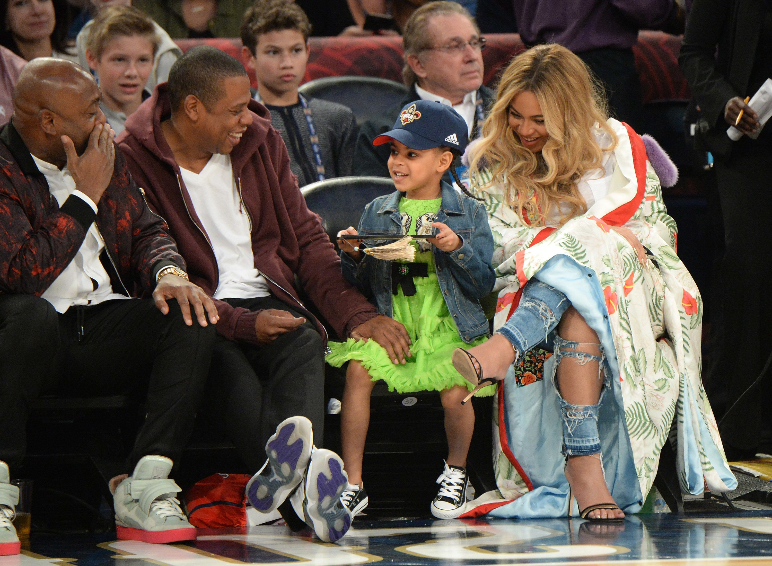 NEW ORLEANS, LA - FEBRUARY 19:  Jay Z, Blue Ivy Carter and Beyonce Knowles attend the 66th NBA All-Star Game at Smoothie King Center on February 19, 2017 in New Orleans, Louisiana.  (Photo by Kevin Mazur/Getty Images)