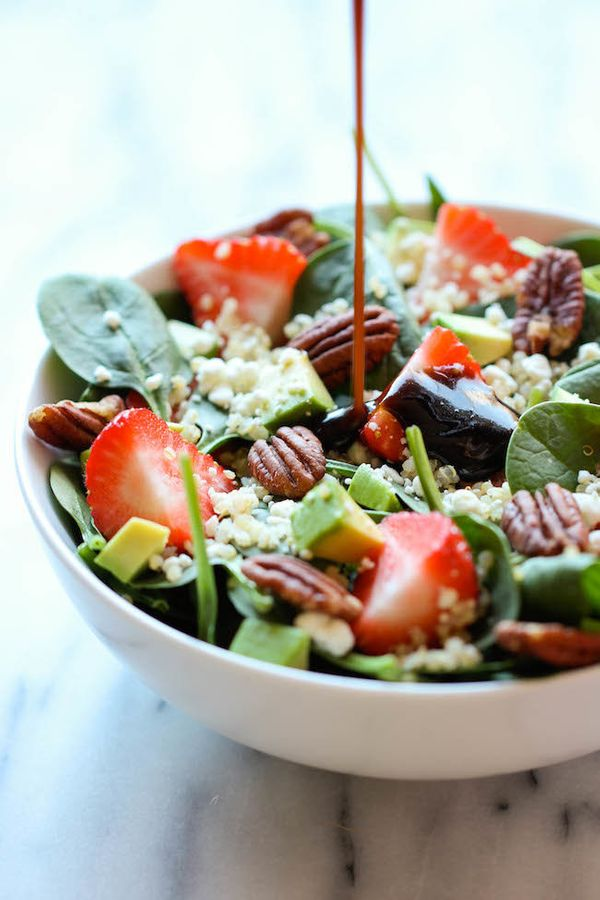 """<strong>Get the <a href=""""http://damndelicious.net/2014/01/28/strawberry-quinoa-salad/"""" target=""""_blank"""">Strawberry, Quinoa Sal"""