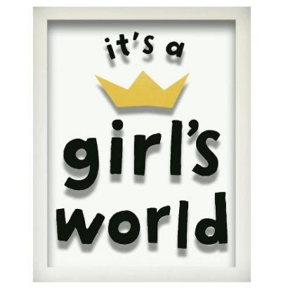 """$22.99, <a href=""""http://www.target.com/p/it-s-a-girls-world-screen-printed-glass-art-pillowfort/-/A-50087826"""" target=""""_blank"""""""