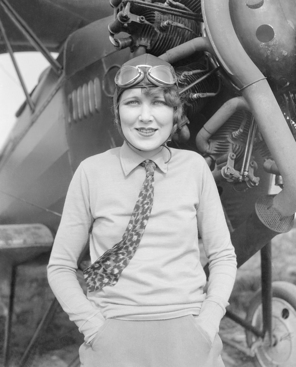 Marjorie Crawford with her monoplane circa 1929.