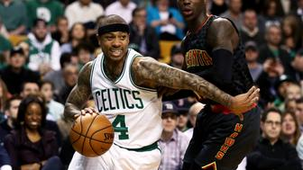 BOSTON, MA - FEBRUARY 27: Isaiah Thomas #4 of the Boston Celtics drives against Dennis Schroder #17 of the Atlanta Hawks during the first quarter at TD Garden on February 27, 2017 in Boston, Massachusetts. NOTE TO USER: User expressly acknowledges and agrees that , by downloading and or using this photograph, User is consenting to the terms and conditions of the Getty Images License Agreement. (Photo by Maddie Meyer/Getty Images)