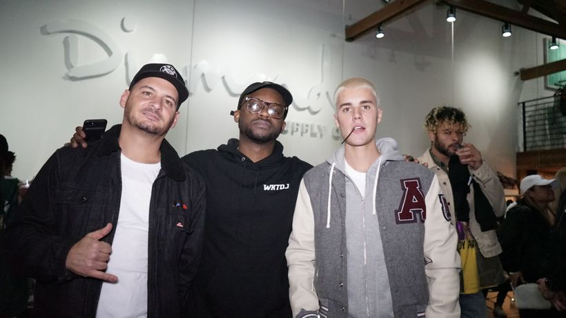 DJ Tay (Taylor James), Pictured With Nicky Diamond and Justin Bieber