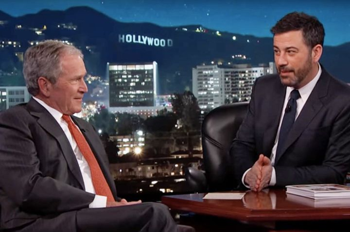 Former Pres. George W. Bush discusses alleged secret UFO files with Jimmy Kimmel on March 2, 2017.