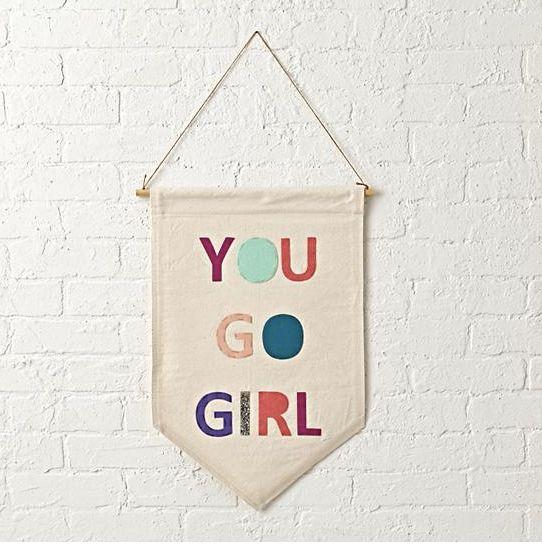 "$39, <a href=""http://www.landofnod.com/you-go-girl-canvas-banner/s239354"" target=""_blank"">Land of Nod</a>"